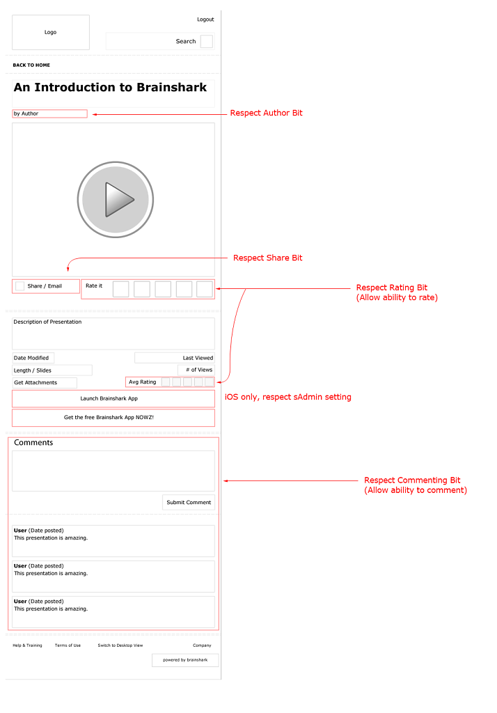 Wireframe of mobile page